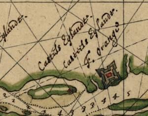 карта 1639 г расположение Форт Нассау и Форт Оранж