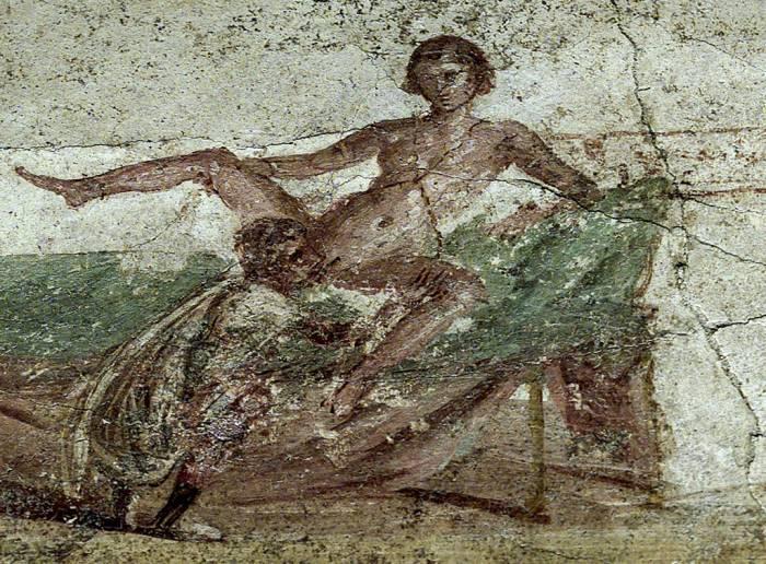 Помпеи фрески в лупанарии (публичный дом)