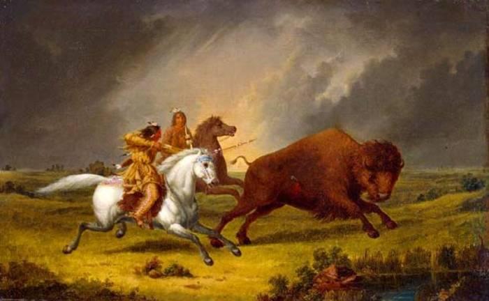 индейцы охотятся на бизона