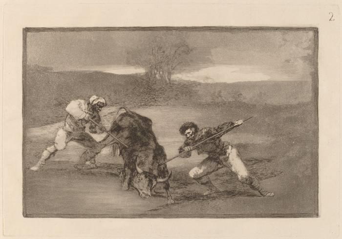Гойя пешая охота на быка