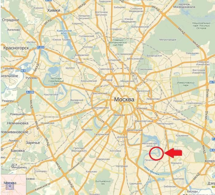 Москва река Перервинский гидроузел на карте