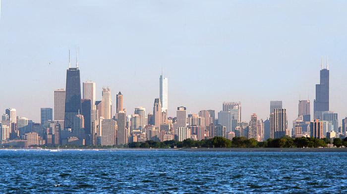 вид Чикаго с озера Мичиган