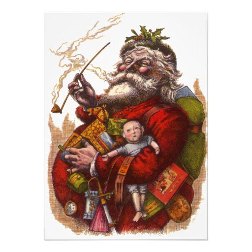 Vintage Victorian Santa Claus Smoking a Pipe Custom Announcement