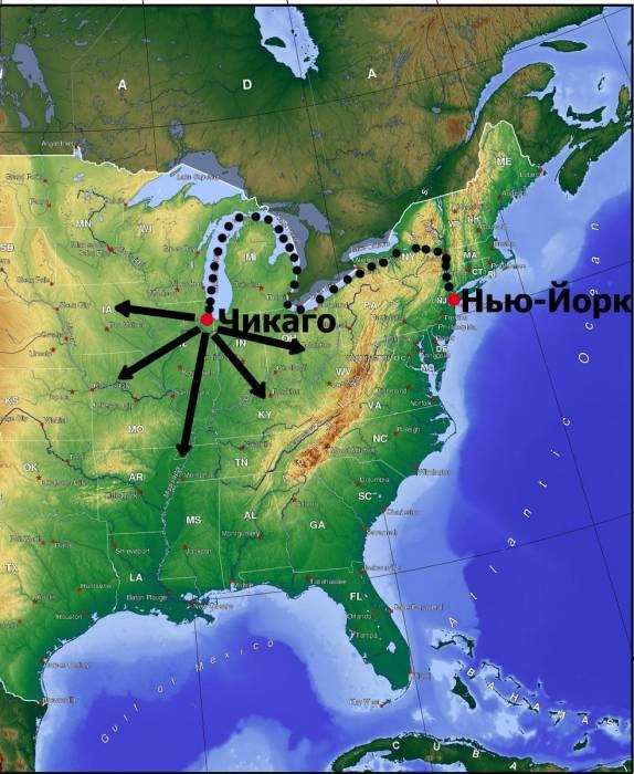 хаб Чикаго для Нью-Йорка