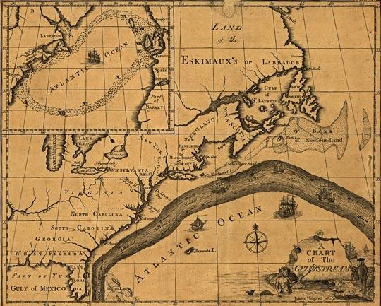 Атлантика течение Гольфстрим карта 1786 г.
