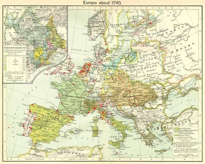 Европа 1740 г. карта расположения фортов