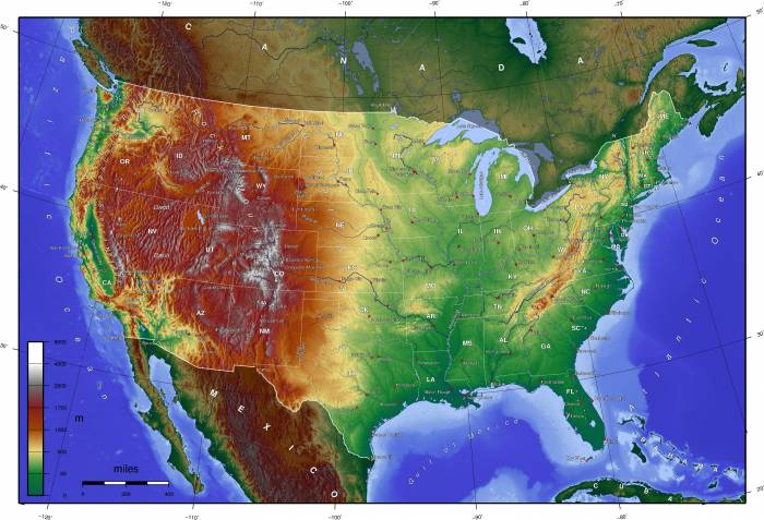 США карта рельефа