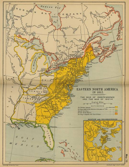 США карта во время войны 1812-1814 гг.