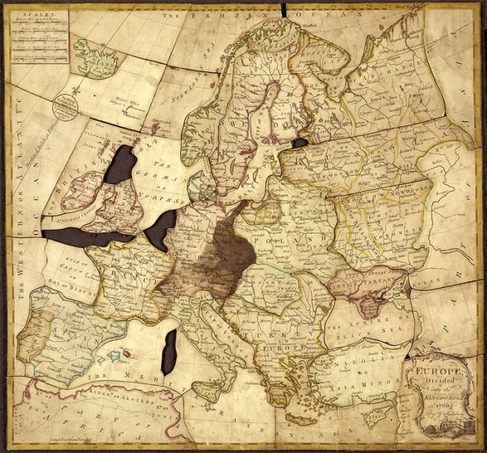 Один изпервых пазлов Джона Спилсбери, XVIII век