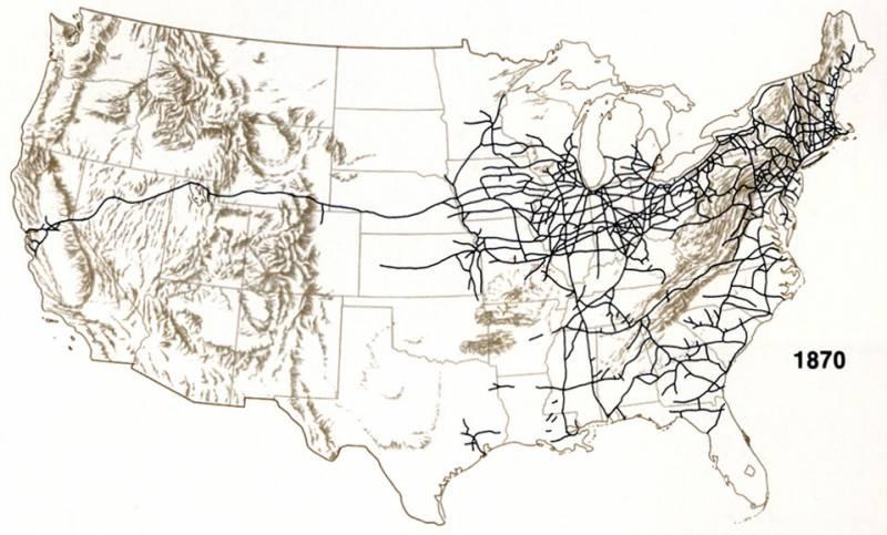 железные дороги США 1870 г