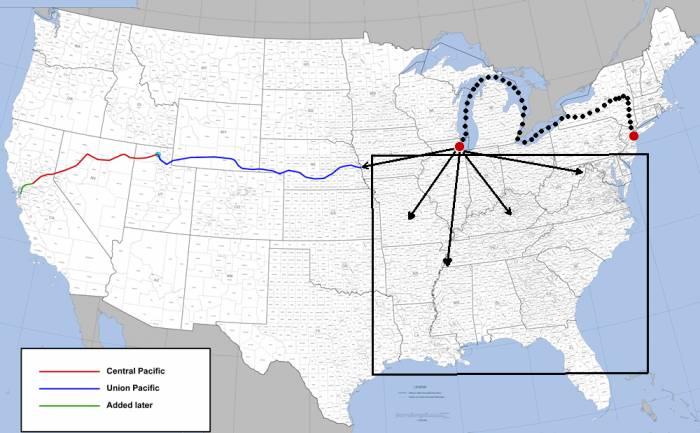 США первая трансконтинентальная железная дорога