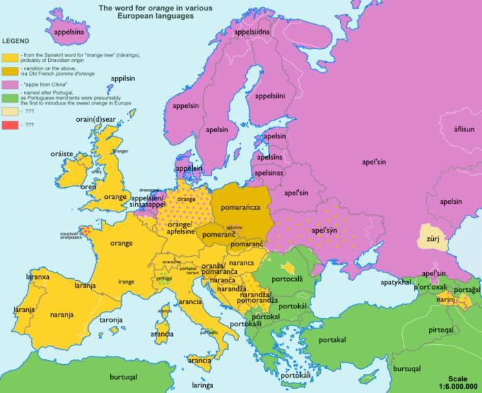 апельсин карта названий