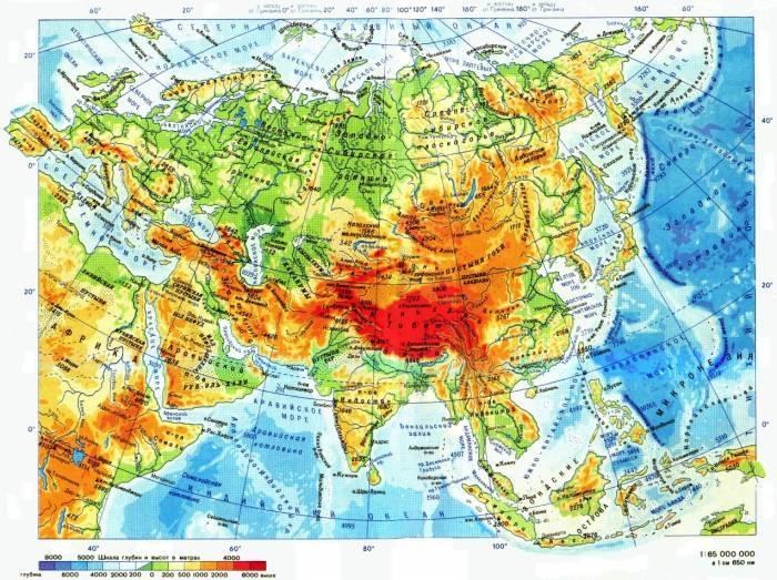 карта Евразии физическая