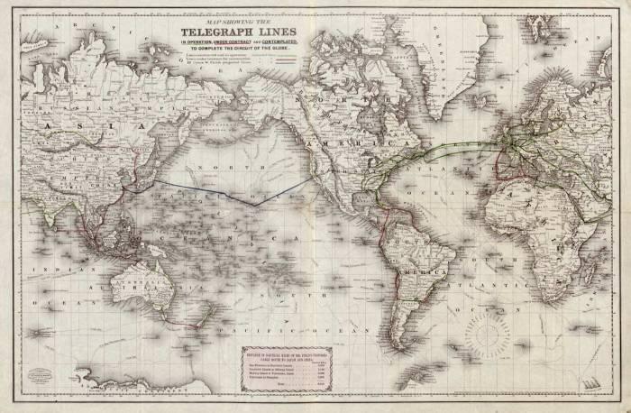 телеграфные линии мира 1855-1870 гг.