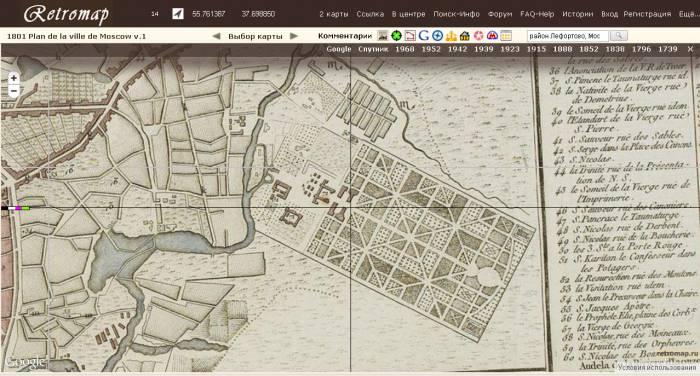 Лефортовский парк 1801 plan de la ville