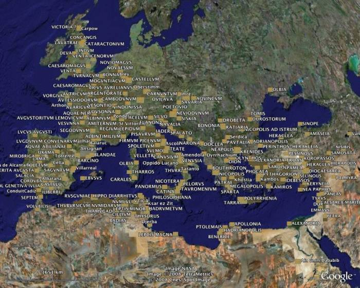 акведуки Римской империи карта