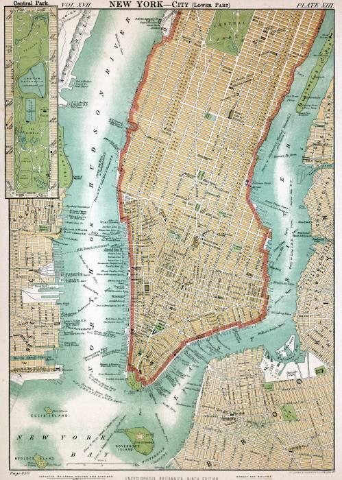 карта Нью-Йорк 1890