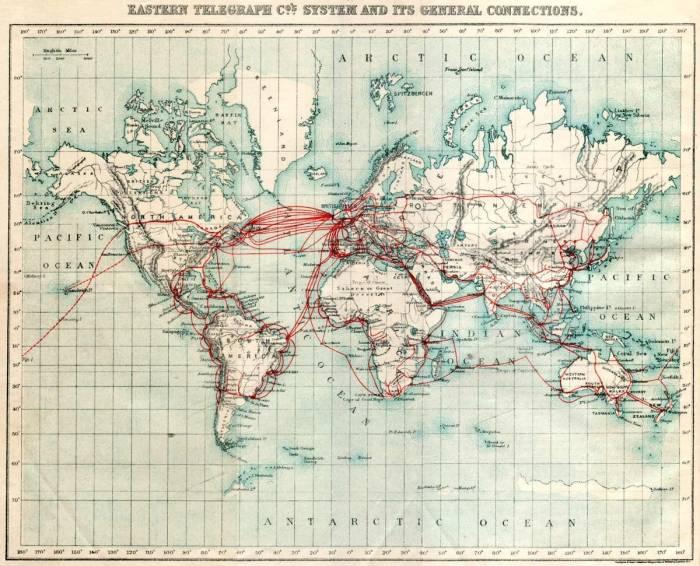 телеграфные линии мира 1901 г.