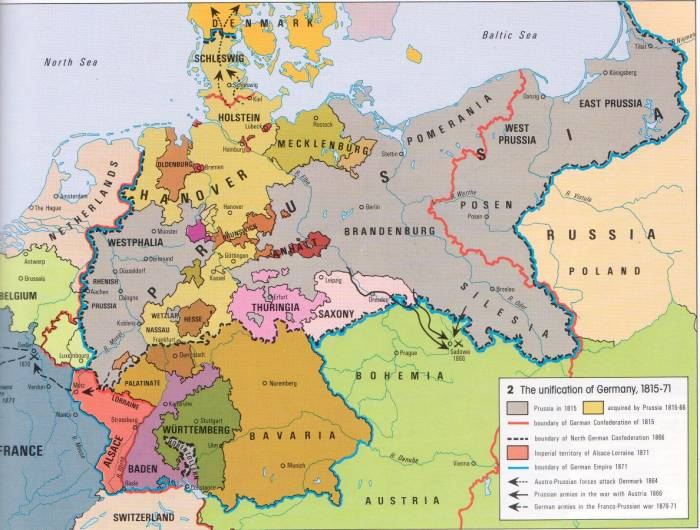 карта объединения Германии 1815-1871