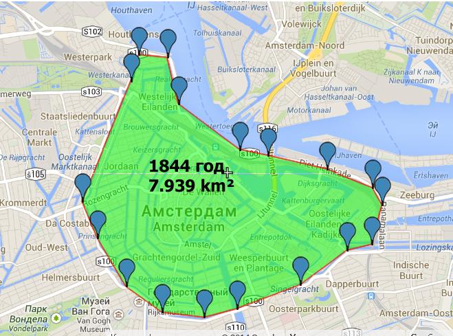 Амстердам 1844 площадь города