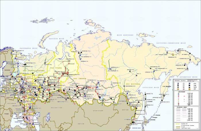 электросистема России карта 2000 г