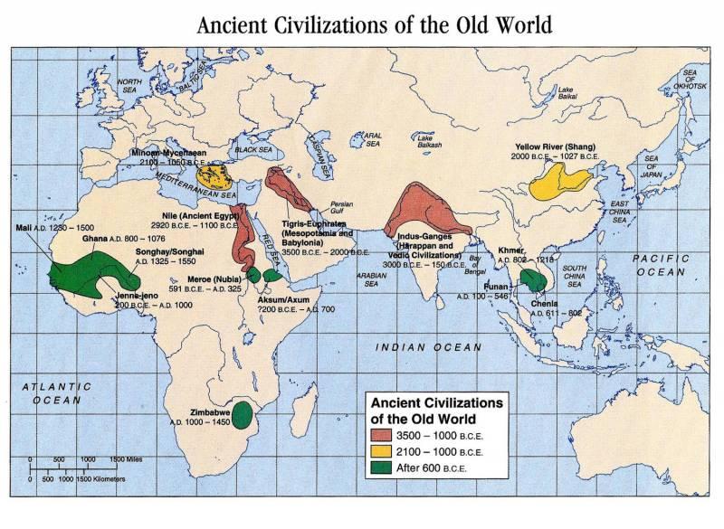 карта цивилизаций древнего мира