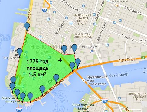 Нью-Йорк 1775 площадь застройки