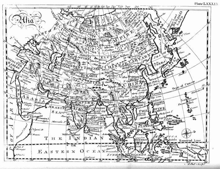 1771 карта Азии из энциклопедии Британика