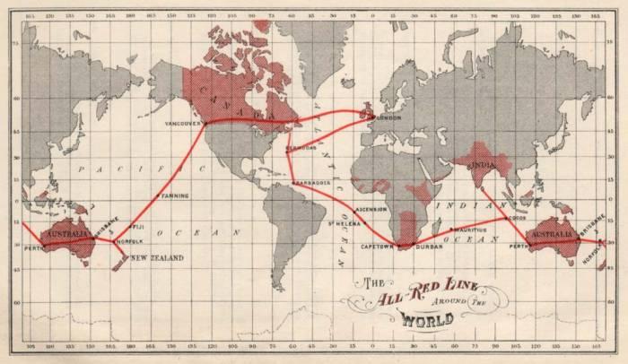 1902 г. телеграфная красная линия Британии