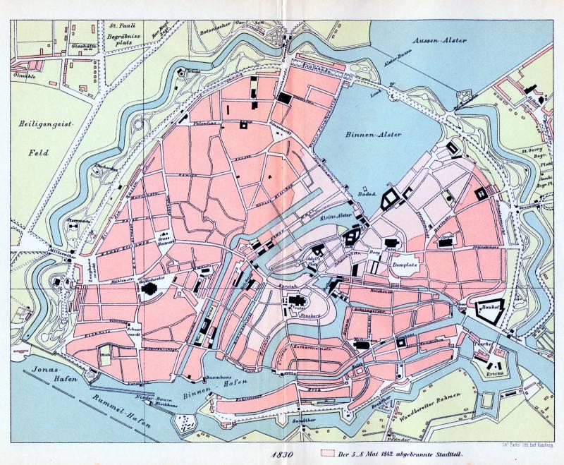 Гамбург карта 1830 г.