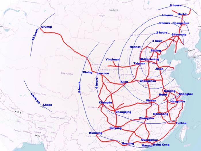 изохроны транспортной доступности от Пекина