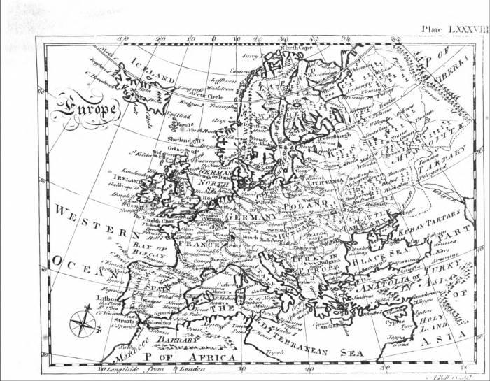 1771 карта Европы из энциклопедии Британика