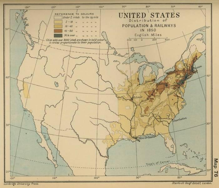 1850 США население и железные дороги
