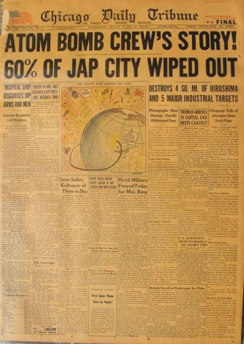 газета Чикаго дейли трибюн бомбардировка Хиросимы