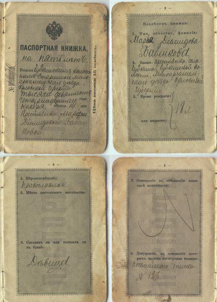 1914 паспорт