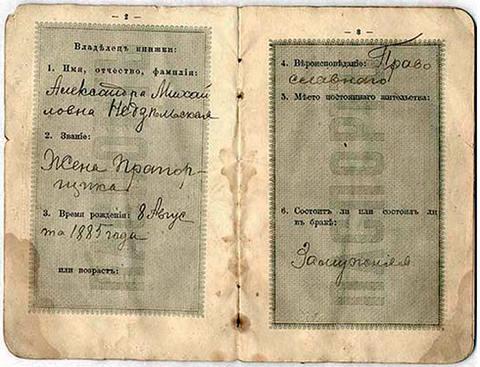 1895 паспортная книжка
