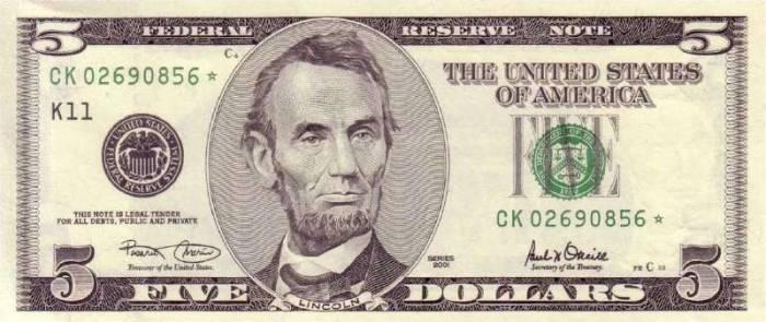 5 долларов США 2001 г Абрам Линкольн