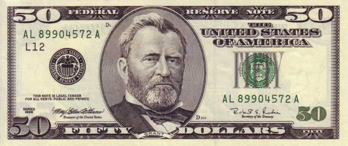 50 долларов США 1996 г Улисс Грант