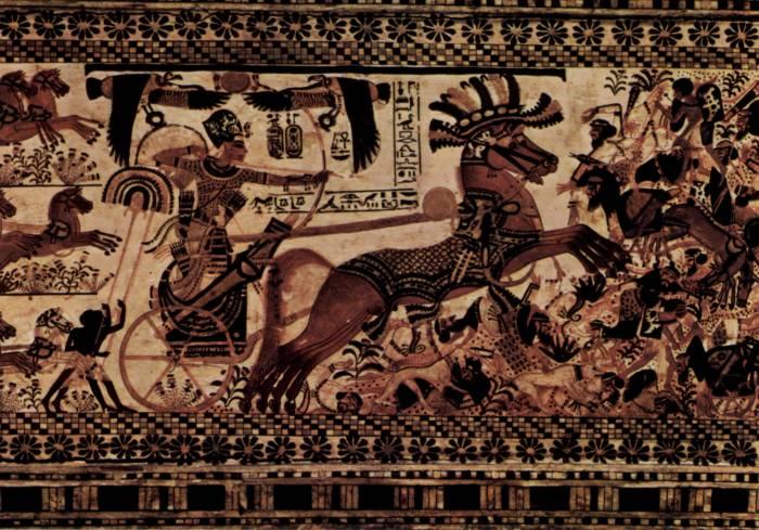 Роспись Тутанхамон на колеснице. Каирский музей